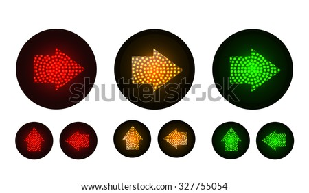 arrow traffic lights with red, yellow and green lamps on. Illustration vector - stock vector