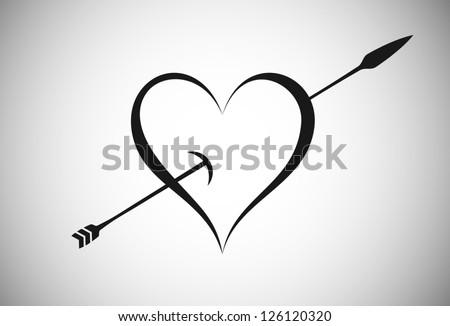 Arrow Trespassing Heart - stock vector