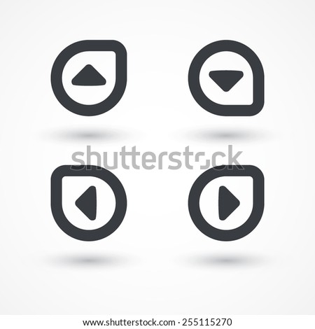 Arrow triangle button icon. Back, forward, left, right, up, down - stock vector