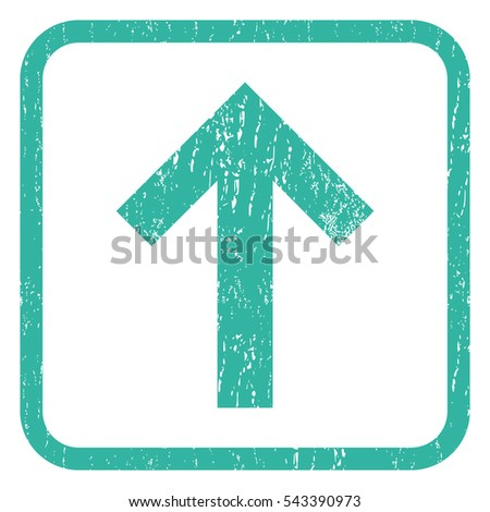 Arrow Up rubber seal stamp watermark. Icon symbol inside rounded rectangular frame with grunge design and scratched texture. Unclean vector cyan ink sign on a white background.