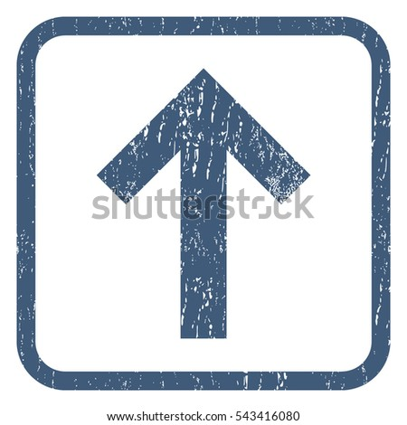 Arrow Up rubber seal stamp watermark. Icon symbol inside rounded rectangular frame with grunge design and dust texture. Unclean vector blue ink emblem on a white background.