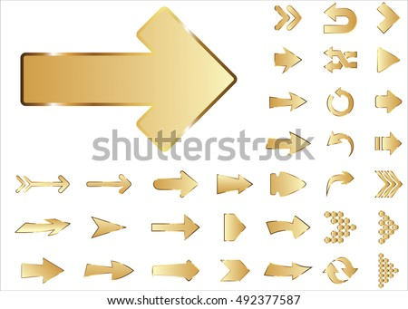 Arrow vector 3d button icon set gold color on white background. Isolated interface line symbol for app, web and music digital illustration design. Application sign element collection.