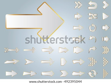 Arrow vector 3d button icon set white color on grey background. Isolated interface line symbol for app, web and music digital illustration design. Application sign element collection.