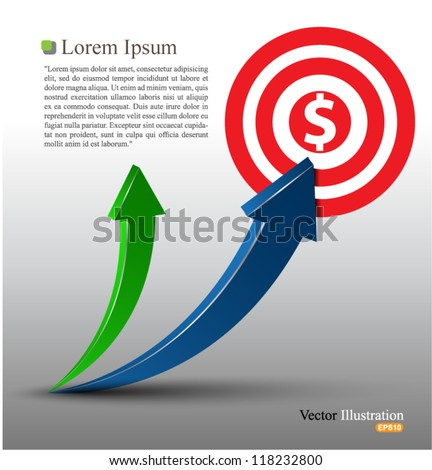 Arrow vector 3d style - stock vector