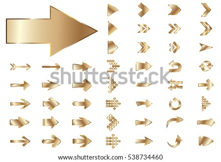 Arrow vector gold curve line up 3d button icon set interface symbol for app, web and music digital illustration design. Application isolated flat digital sign collection on white background