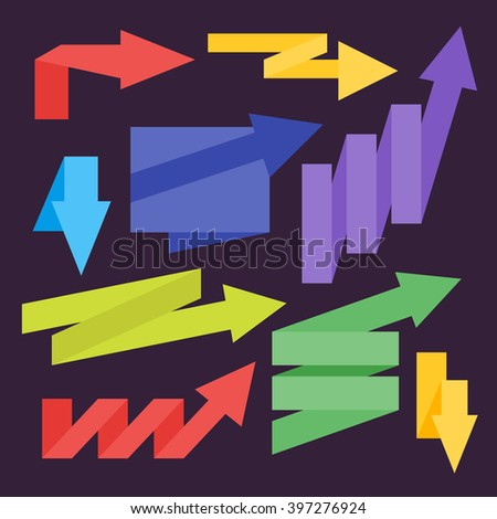 Arrow vector. Ribbon arrow. Arrows set. Origami style. Curved arrow. Paper arrow. Advertisement retail flag. Different arrows design. Web design element. Special symbols. Arrow icon. Arrow with ribbon - stock vector