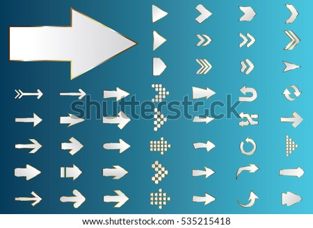 Arrow vector silver curve line up 3d button icon set interface symbol for app, web and music digital illustration design. Application isolated flat sign collection on blue background