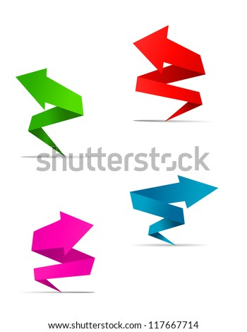 Arrow web banners set in origami style for web design, such a logo template. Jpeg version also available in gallery - stock vector