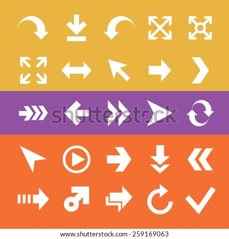 arrow, white flat icons, signs, symbols set, vector
