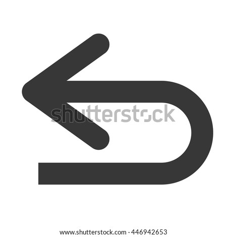 Arrow with return direction in black and white colors vector illustration eps10