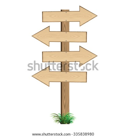 Arrow wooden sign direction road. vector illustration.