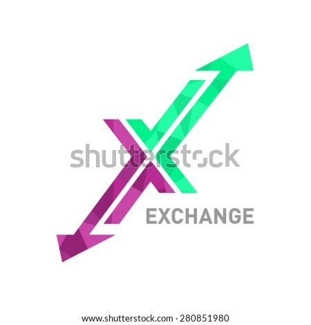 Arrow X logo design - stock vector