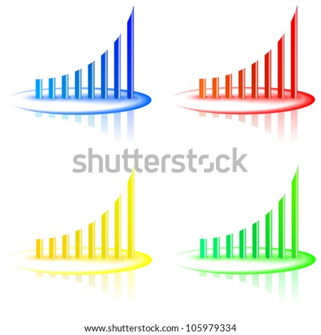 Arrowed business chart, four colors - stock vector