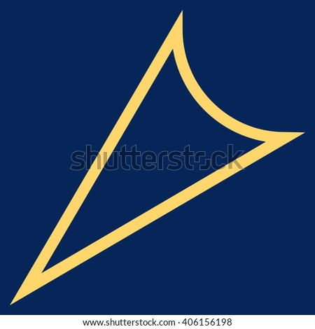 Arrowhead Left Down vector icon. Style is thin line icon symbol, yellow color, blue background.