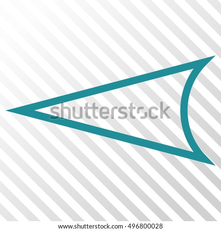 Arrowhead Left vector icon. Image style is a flat soft blue pictograph symbol on a hatch diagonal transparent background.