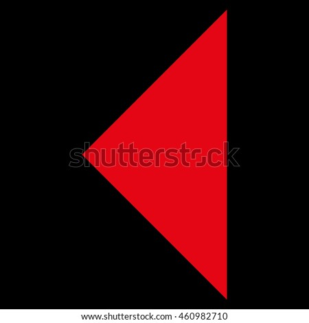 Arrowhead Left vector icon. Style is flat icon symbol, red color, black background.