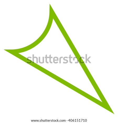 Arrowhead Right Down vector icon. Style is outline icon symbol, eco green color, white background.