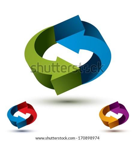 Arrows abstract loop symbol, vector conceptual pictogram template, vector 3d icon set. - stock vector