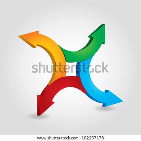 Arrows - abstract proces concept on white background, vector illustration - stock vector