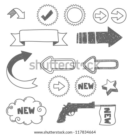 arrows and hand drawn elements - stock vector