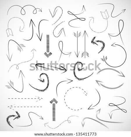 Arrows And Lines - Hand Drawn - Set - Vector illustration - Graphic Design Editable For Your Design. Arrows Logo