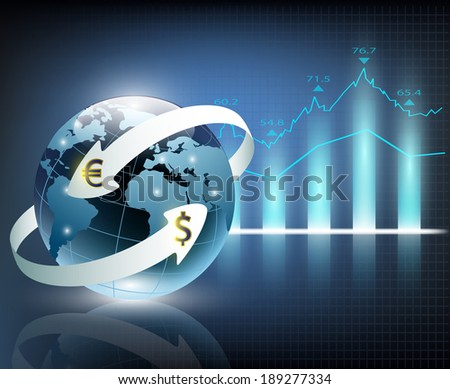 arrows around planet earth and world currency - stock vector