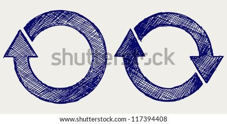 Arrows circle. Doodle style - stock vector