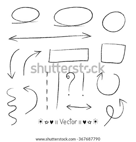 Arrows circles and abstract doodle writing design vector set great for any use.  - stock vector