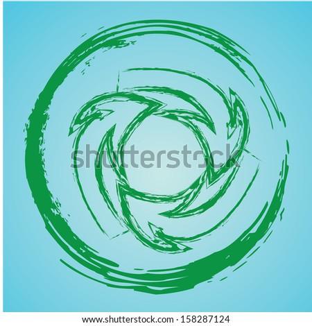 arrows design over blue background vector illustration - stock vector