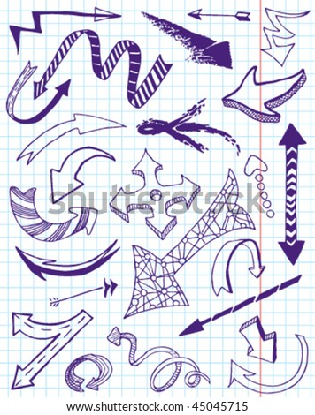 Arrows doodles set. - stock vector