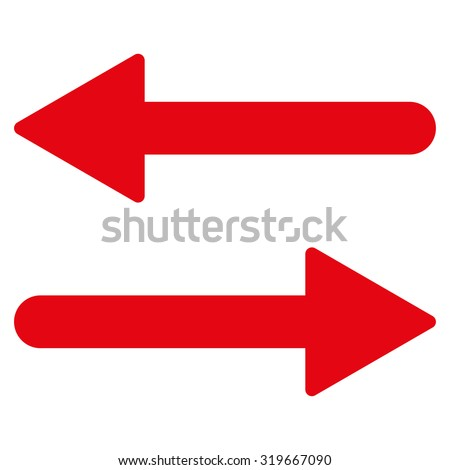 Arrows Exchange Horizontal icon from Primitive Set. This isolated flat symbol is drawn with red color on a white background, angles are rounded. - stock vector