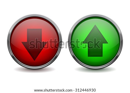Arrows. Green and red glass button. UP and DOWN icon. Vector illustration - stock vector