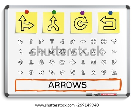 Arrows hand drawing line icons. Vector doodle pictogram set: sketch sign illustration on white marker board with paper stickers: right, left, move, join, cursor, interface, switch, merge, turn. - stock vector