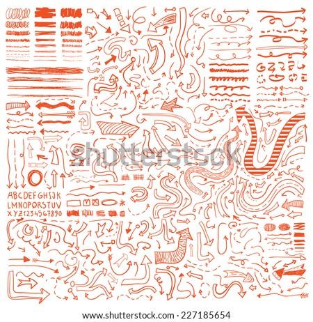 Arrows hand drawn, vector illustration. - stock vector