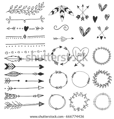Arrows hearts ornament handdrawn wedding decor stock vector arrows hearts ornament handdrawn wedding decor elements in boho style vector collection junglespirit Image collections