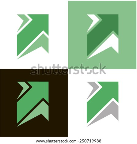 arrows (icon) vector 17. The stylized image of arrows. Logo element. Green. Black. Gray. - stock vector