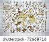 arrows icons on old paper background - stock vector