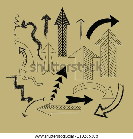 Arrows icons on old paper,Vector - stock vector