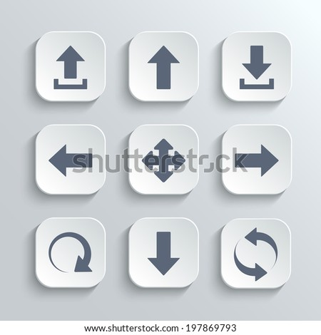 Arrows icons set - vector white app buttons