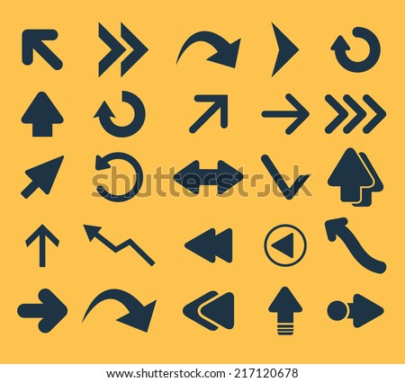 arrows icons, signs, illustrations, silhouettes set, vector - stock vector