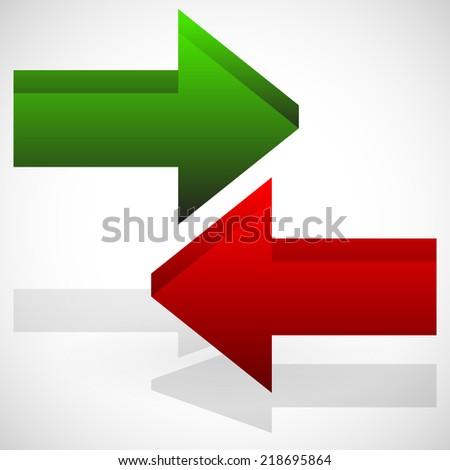 Arrows in opposite directions - stock vector