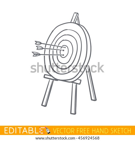 Arrows in wooden targets. Editable vector icon in linear style. - stock vector