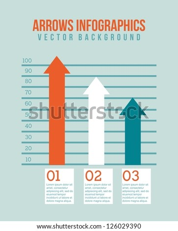 arrows infographics over blue background. vector illustration