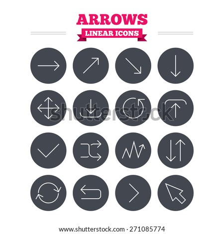 Arrows linear icons set. Download, refresh and fullscreen symbols. Upload, check ot tick and shuffle thin outline signs. Cursor arrow. Flat circle vector - stock vector