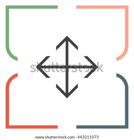 Arrows move sign line vector icon. Direction sign line icon.
