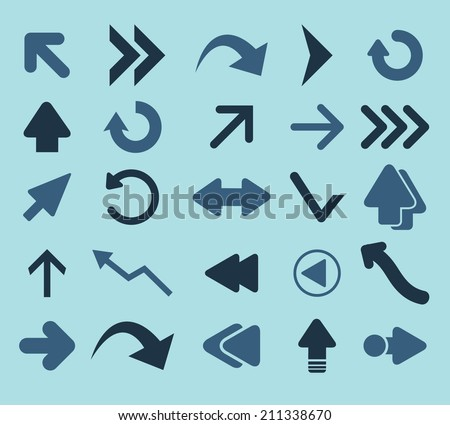 arrows, navigation, directions black icons, signs, silhouettes, illustrations set. vector  - stock vector