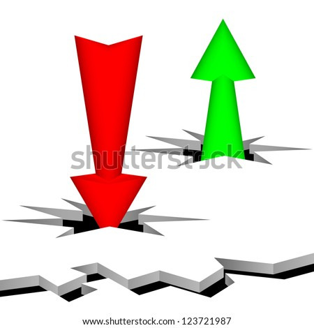 Arrows punch a surface. The arrow of green color specifies up, the red arrow specifies down. Composition on a white background.