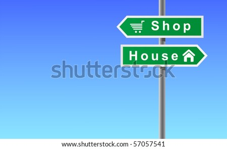 Arrows shop house on sky background. - stock vector