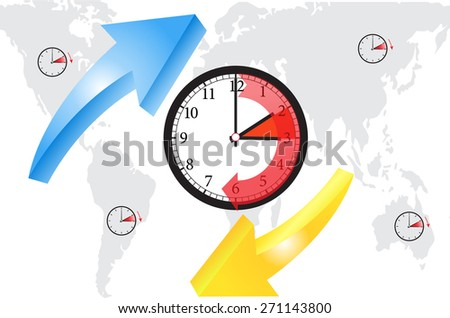 arrows show time change  - stock vector