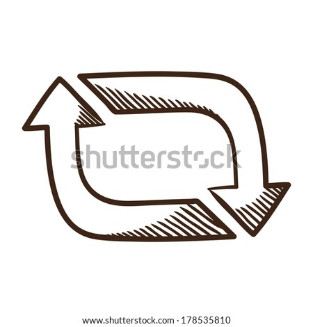 Arrows. Sketch symbol isolated on white. - stock vector